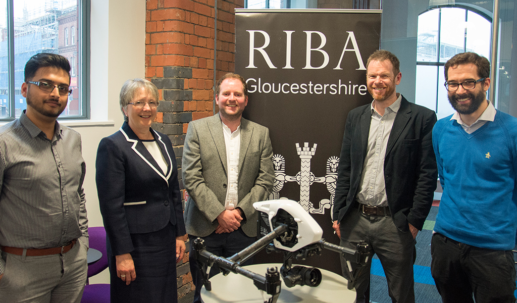 Sarah Delaney from NBS, John Tredinnick from Atkins, Owen Maddock from Connected Works, Craig Hellen from Bexmedia and Shivam Garg from RIBA Gloucestershire